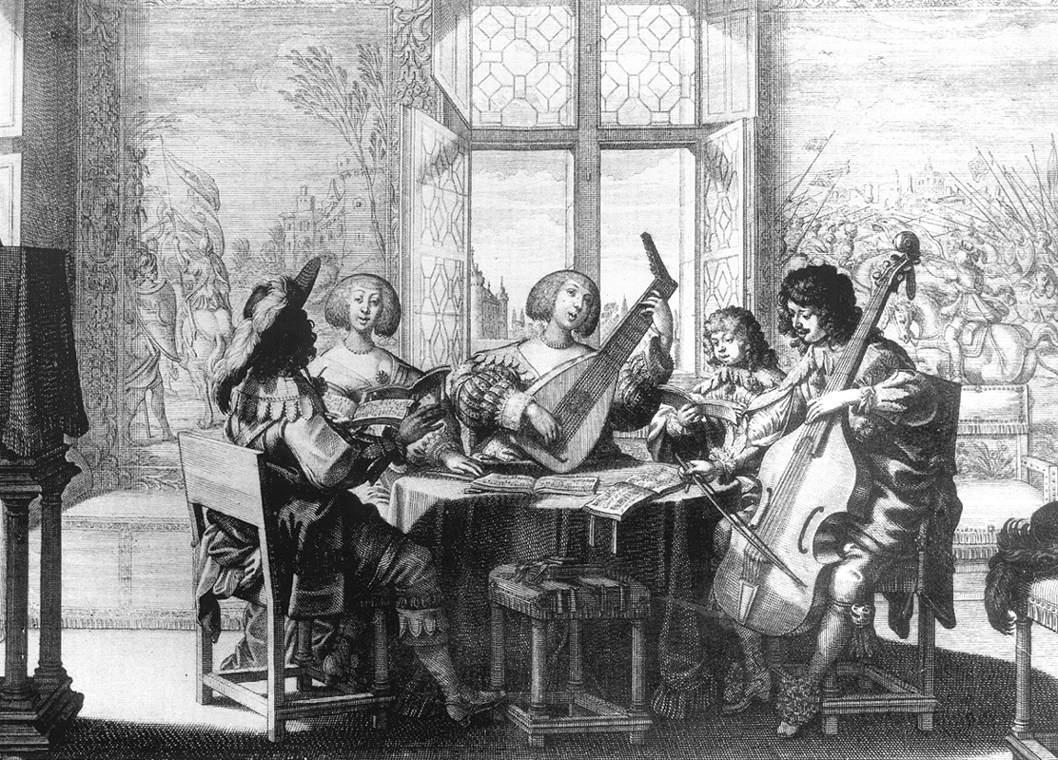 Musical Society. c1635, by Abraham Bosse, French engraver  (b. 1602, Paris, d. 1676, Paris), Copper engraving,  Bibliothèque Nationale, Paris